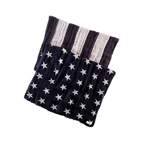 (デニム&サプライ ラルフローレン)Denim&Supply Ralph Lauren スカーフ Stars-and-Stripes Linen Scarf ブラック/グレーBlack/Grey 【並行輸入品】