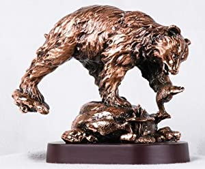 8 Inch Copper Grizzly Bear on Rock Hunting Salmon Fish Figurine Statue
