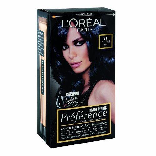 L'Oréal Paris Préférence Colore Permanente, 21 Black Pearls Deep Blu