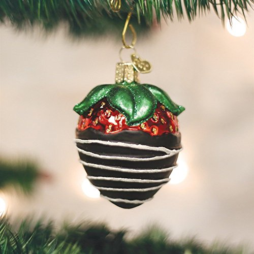Old World Christmas Chocolate Dipped Strawberry Glass Blown Ornament