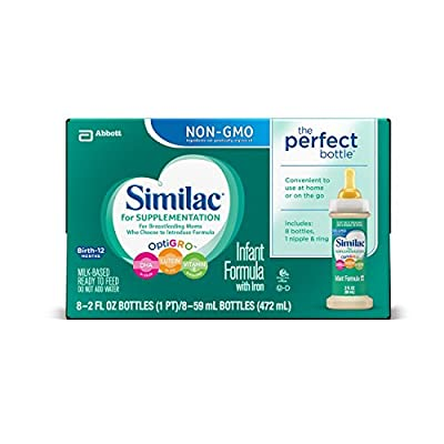 Similac for Supplementation Ready-to-Feed Infant Formula Bottles with Nipple and Ring, 2 fl oz, 8 bottles (Pack of 6) by Similac