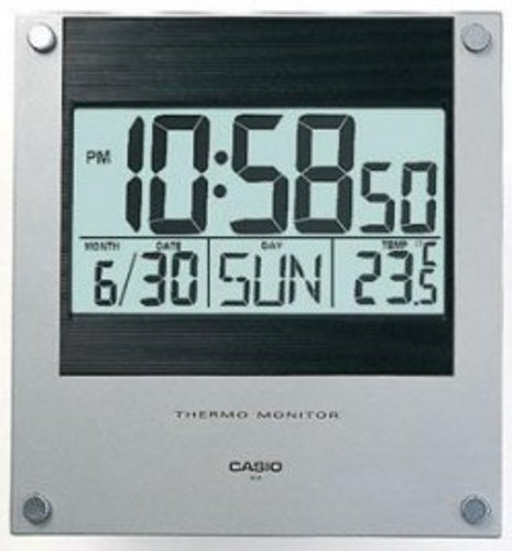 Casio ID-11-2 Digital Wall and Desk Clock Silver and Black