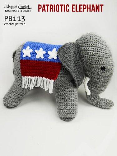 Crochet Pattern Patriotic Elephant PB113-R