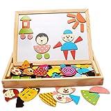 Happy Cherry 子供の知育玩具!木製 お絵かきボード 黒板 ホワイトボード 両面 ペン チョーク セット キャラクタ の マグネット 付き
