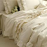 Brandream Girls Korean Ruffle Bedding Sets Romantic Ivory Duvet Covers Queen King Size 4 Piece Sheets Set Luxury Satin Fabric
