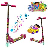 DORA - NEW FOLDABLE DESIGN SCOOTER TODDLER KID PUSH KICK 3 WHEEL LED RIDE ON TOY
