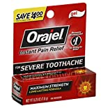 Orajel Oral Pain Reliever, for Severe Toothache, Maximum Strength, Gel, 0.25 oz (7 g)