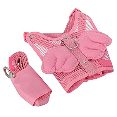 Adjustable Angel Wing Net Pet Dog Cat Safety Mesh Harness Leash With Lead Leash S Small Size