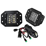 LED Work Light Flush Mount,Offroad Town 2 Pcs 12V 48W Flush Cube LED Work Light Bar for Truck Off-Road SUV Boat 4x4 Jeep Grill Mount