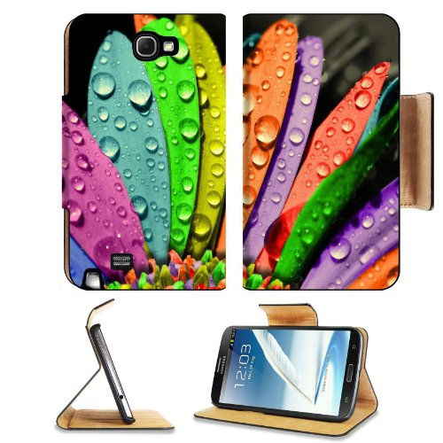 Rainbow Colored Flower Petals Colors Water Drop Dew Fresh Samsung Galaxy Note 2 N7100 Flip Case Stand Magnetic Cover Open Ports Customized Made To Order Support Ready Premium Deluxe Pu Leather 6 1/16 Inch (154Mm) X 3 5/16 Inch (84Mm) X 9/16 Inch (14Mm) Li front-888822