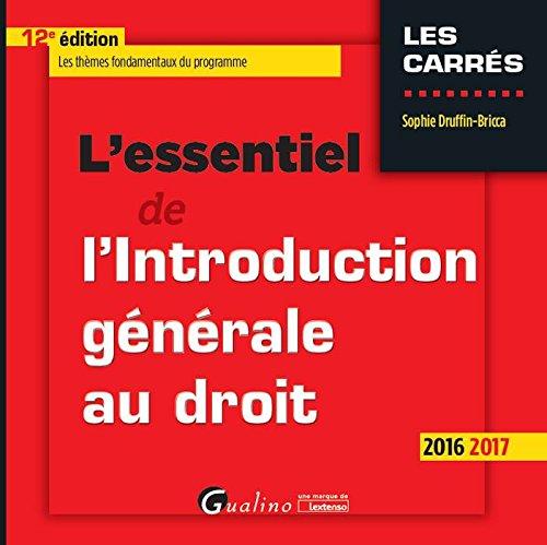 L'essentiel de l'introduction générale au droit 2016-2017