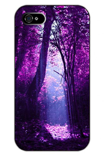 Sprawl Iphone 4S Case Scene Clear Print Sunlight Shines Into Purple Forest Hard Plastic Snap On Uniqe Design