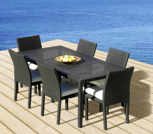 Outdoor Patio Wicker Furniture All Weather Resin 7 Piece Dining Table Chair Set From Mango