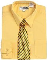 Gioberti Big Boy's Long Sleeve Dress Shirt + Stripe Clip Tie