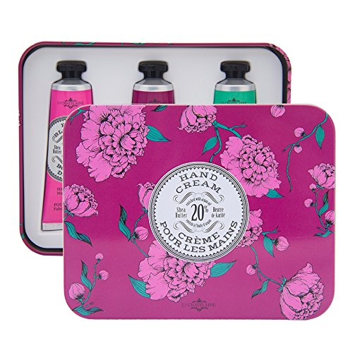 La Chatelaine 20% Shea Butter Hand Cream Tin Gift Set, 3 x 1fl oz with Organic Argan Oil, Hydrating, Nourishing, Repairing, Non-Greasy Formula, Paraben Free - Rose Blossom, Wild Fig, Winter Flower