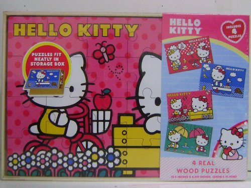 Hello Kitty 4 Wood Puzzles In Wooden Storage Box - 1