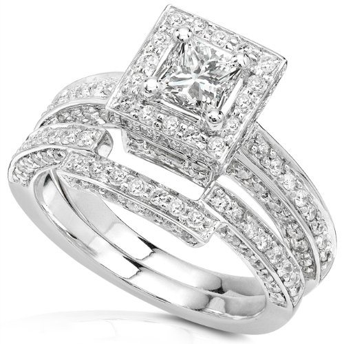 1-1/4ctw Princess Diamond Wedding Rings Set in 14Kt White Gold &#8211; Size 6