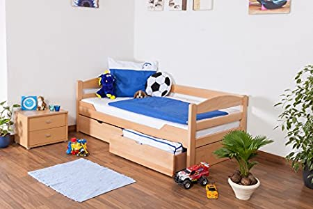 """Lit d'enfant / d'adolescent """"Easy Sleep"""" K1/n/s avec 2 tiroirs et 2 panneaux de masquage, 90 x 200 cm hêtre naturel massif"""