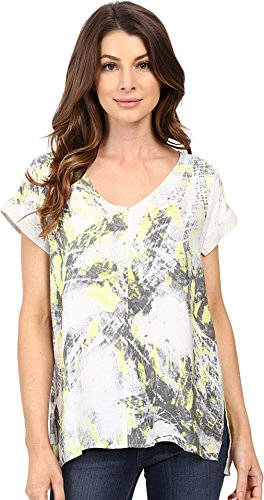 Calvin Klein Jeans Womens Printed Top with Rib Detailing