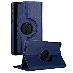 Gioiabazar 360 Degree Rotating Smart Leather Case Cover for Google Nexus 7 Tablet 2nd GEN Navy Blue