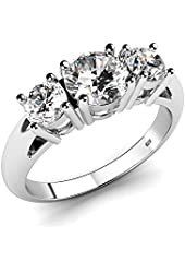 Sterling Silver 925 Cubic Zirconia CZ 3 Stone Engagement Ring