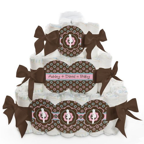 Trendy Mommy - 3 Tier Personalized Square - Baby Shower Diaper Cake