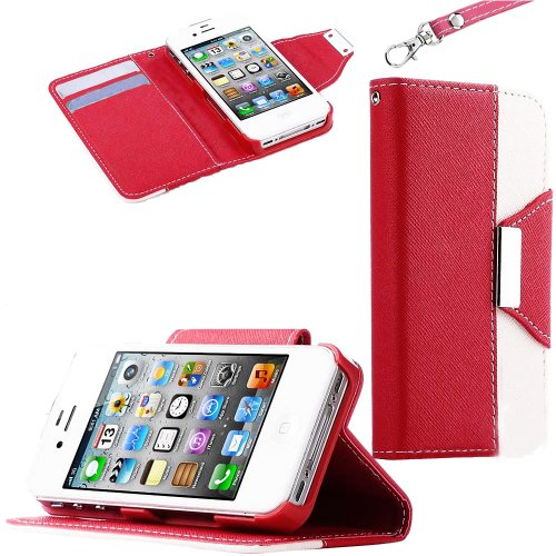 Mylife (Tm) Bright Red And White Classy Design - Textured Koskin Faux Leather (Lanyard Strap + Card And Id Holder + Magnetic Detachable Closing) Slim Wallet For Iphone 4/4S (4G) 4Th Generation Touch Phone (External Rugged Synthetic Leather With Magnetic C