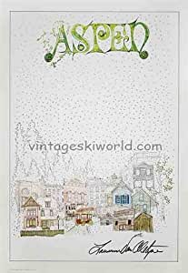 Aspen Town 1977 Original Poster, Signed by Larry Van Alstyne