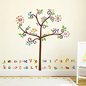 Decowall, DMT-1503, animal del alfabeto y números árbol pared pegatinas / Tatuajes de pared / tatuajes de pared / transferencias de pared marca Decowall - BebeHogar.com