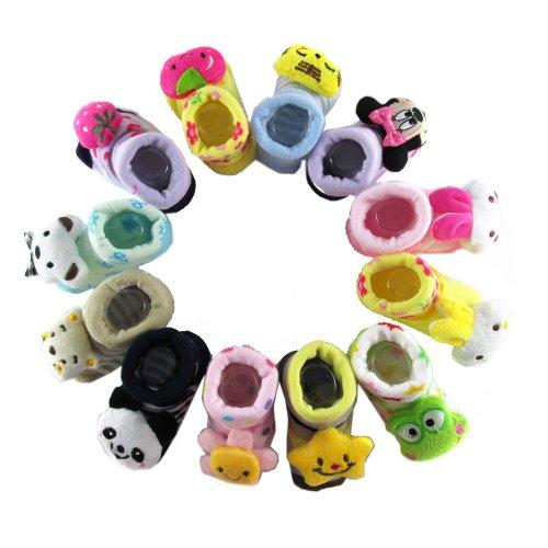 3 Pair Ecosco Baby Infant Toddler Boy Girl 3D Cartoon Animal Unisex Anti Slip Skid Socks Slippers Shoes / 0-6 Months / Size 7-9 Cm / (Girl) front-920290