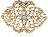 """Downton Abbey """"Gilded Age Boxed"""" Belle Epoch Swirl Filigree Pave Crystal Cluster Bar Pin"""