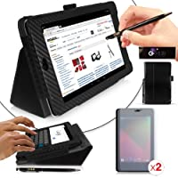 Google Nexus 7 Tablet Case - Black Carbon Fibre Print PropUp Stand Case Cover with integrated stand function and magnetic sleep sensors (Fits all Nexus 7 versions - 8GB, 16GB, 32GB Wi-Fi & HSPA+). With 2 x Screen Guards Included & BONUS: G-HUB ProPen Styl
