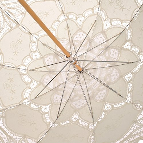 Remedios Ivory Bridal Wedding Cotton Lace Parasol Umbrella for Party Decoration 4