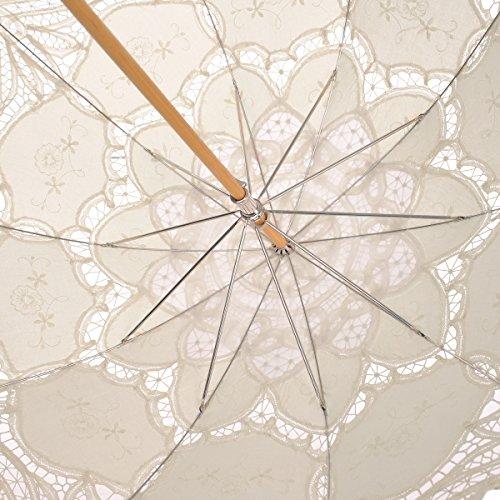 Remedios Ivory Bridal Wedding Cotton Lace Parasol Umbrella for Party Decoration 4