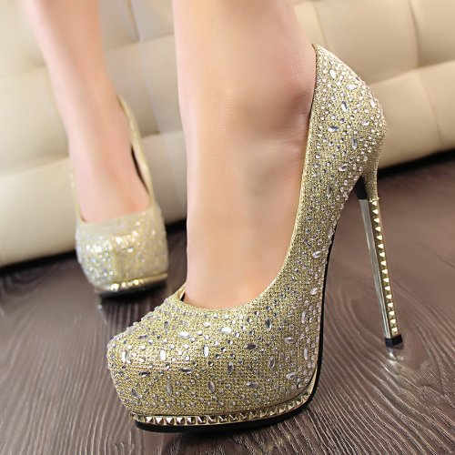 Women's Stilettos Pointed Toe High Heel Pumps Platforms Party Shoes & Wedding Shoes Silver Gloden Pink Black Shoes