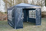 Airwave 3m x 3m Gazebo Party Tent Marquee Awning BLUE with Side Panels. 120g WATERPROOF Canopy and Powder Coated Steel Frame.