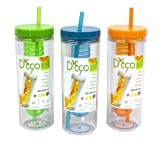Fruit Infuser Water Bottle by D'Eco (Set of 3- Orange, Blue, and Green)