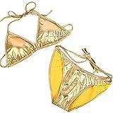 ビーチ姫 目立つゴールドメタリック三角ビキニ/胸パッド入/水着/フルバック/金GOLD