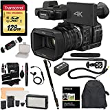 Panasonic HC-X1000 4K-60p/50p Camcorder with High-Powered 20x Optical Zoom and Professional Functions (Black) with Transcend 128 GB U3 SDXC + Panasonic VW-VBD58 Battery + Polaroid Pro Video Microphone Set + PRO LED Light + Deluxe Padded Backpack + Deluxe Accessory Bundle