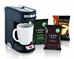 Café Valet Black/Silver Single Serve Coffee Brewer Starter Kit/Combo, Includes 18 Count Variety Pack of Exclusive Café Valet Coffee from Courtesy Brands LLC