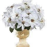 Poinsettia Bouquet Holiday Planter Picks - Set of 3, White