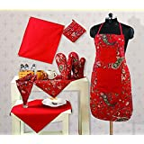 Handmade Cotton Chef's Apron Set With Pot Holder,Oven Mitts & Napkins -Perfect Home Kitchen Gift Or Bridal Shower...
