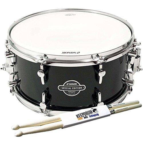 sonor-sse13-1407-sdw-cesf-transparent-stain-black-snare-drum-keepdrum-drumsticks