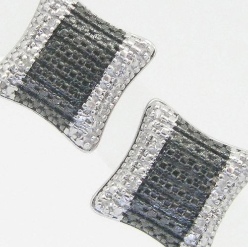 Mens 925 Sterling Silver earrings fancy stud hoops huggie ball fashion dangle black stripe white pave earrings