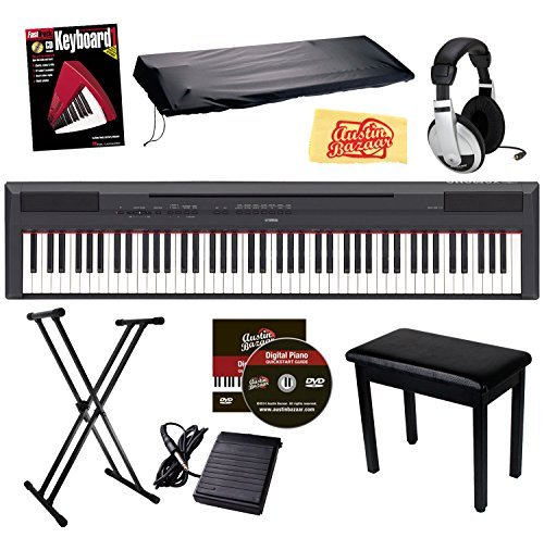 Big Save! Yamaha P-115 Digital Piano Bundle with Stand, Bench, Dust Cover, Sustain Pedal, Headphones...