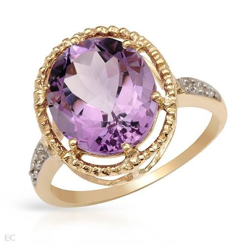 Cocktail Ring With 4.38ctw Precious Stones - Genuine Amethyst and Diamonds Beautifully Designed in Yellow Gold (Size 7)