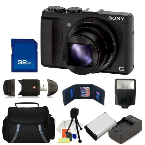Sony DSC-HX50V/B 20.4MP Digital Camera with 3-Inch LCD Screen (Black) Kit. Includes: 32GB Memory Card, High Speed Memory Card Reader, Extended Life Replacement Battery, Slave Flash & More