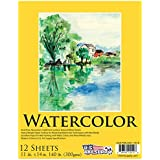 "U.S. Art Supply 11"" x 14"" Premium Heavy-Weight Watercolor Painting Paper Pad, 60 Pound (300gsm), Pad of 12-Sheets"