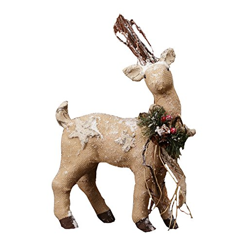 Your Hearts Delight Burlap and Twig Deer Decor, 4 by 17-Inch
