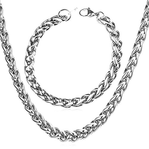 9mm Stainless Steel Twisted Rope Chain Necklace Bracelet Set,Men Women Fashion Jewelry,22